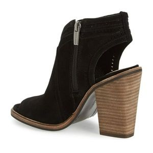 VINCE CAMUTO KORAL Black Suede Open Toe Booties